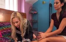Lesbian girls Nikki Daniels and Odette Delacroix enjoy a session