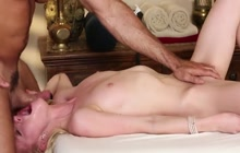 Skinny blonde blowjob after a massage