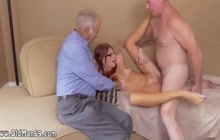 Skinny chick having fun with mature dudes