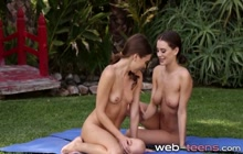 Yoga teens licking each other