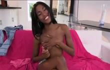 Skinny babe displaying her black cunt