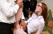 Teacher makes redhead schoolgirl squirt